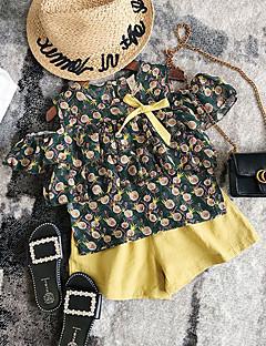 billige Tøjsæt til piger-Børn / Baby Pige Blomstret Kortærmet Tøjsæt
