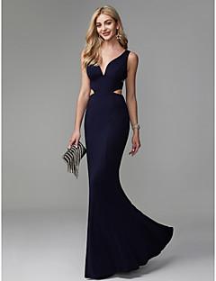 Χαμηλού Κόστους Βραδινά Φορέματα-Τρομπέτα / Γοργόνα Λαιμόκοψη V Μακρύ Spandex Όμορφη Πλάτη / Με κοψίματα Χοροεσπερίδα / Επίσημο Βραδινό Φόρεμα με Πλισέ με TS Couture®