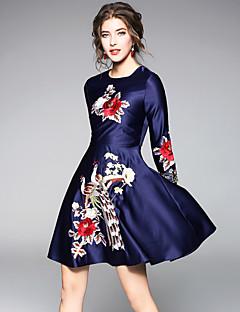 billige Minikjoler-Dame Vintage Gade A-linje Kjole - Blomstret, Broderi Mini