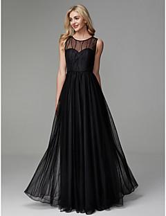 billiga Aftonklänningar-A-linje Prydd med juveler Golvlång Tyll Bal / Formell kväll Klänning med Bård av TS Couture®