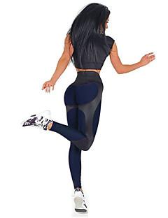 billige Løbetøj-Dame Patchwork Yoga bukser - Marineblå, Bourgogne Sport Geometri Højtaljede Tights / Leggins Løb, Fitness, Træningscenter Sportstøj Push-up bukser, Butt Lift, Mavekontrol Elastisk Tynde