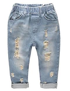billige Jeans til piger-Børn Unisex Ensfarvet Jeans