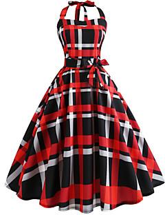 ieftine Regina Vintage-Pentru femei Vintage Swing Rochie - Imprimeu, Geometric Lungime Genunchi