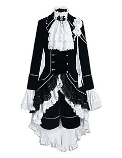 cheap Anime Costumes-Inspired by Black Butler Ciel Phantomhive Anime Cosplay Costumes Cosplay Suits Color Block Patchwork Long Sleeves Vest Shirt Skirt