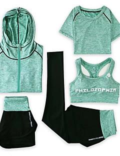 billiga Träning-, jogging- och yogakläder-Dam Brottarrygg 5pcs Yoga Suit - Rosa, Mörkgrå, ljusgrön sporter Shorts / Sportbehåar / Huvtröja Löpning, Fitness, Gym Sportkläder Snabb tork, Andningsfunktion Elastisk