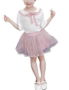 billige Tøjsæt til piger-Børn Pige Farveblok Halvlange ærmer Tøjsæt