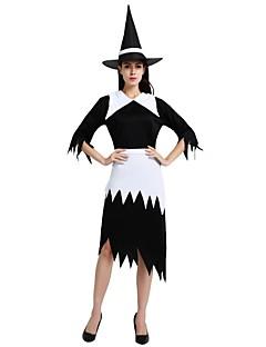billige Halloweenkostymer-Trollmann / heks Drakter Dame Halloween / De dødes dag / Maskerade Festival / høytid Halloween-kostymer Svart Ensfarget / Halloween