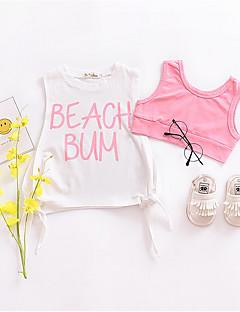billige Babyoverdele-Baby Pige Trykt mønster Uden ærmer T-shirt