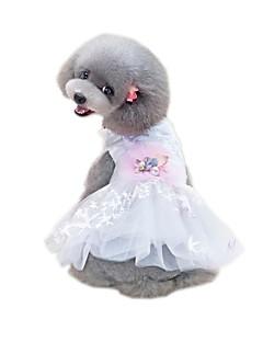 billiga Hundkläder-Husdjur Klänningar Hundkläder Enfärgad / Voiles & Skira / Blomma Vit Bomull / Polyester / Nät Kostym För husdjur Blomstil / söt stil