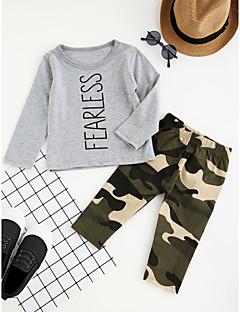 billige Tøjsæt til drenge-Drenge Tøjsæt camouflage, Bomuld Polyester Forår Efterår Langærmet Tegneserie Pænt tøj Grå