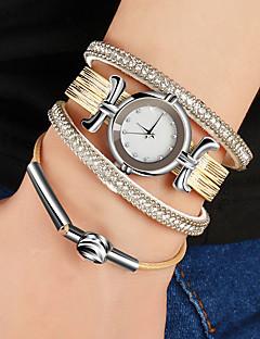 billige Armbåndsure-Dame Quartz Armbåndsur Kinesisk Afslappet Ur PU Bånd Vintage Sølv Guld