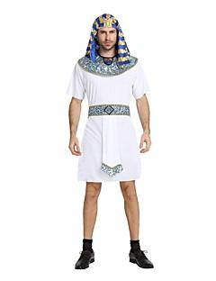 billiga Cosplay och kostymer-Egyptiska Dräkter Outfits Herr Halloween / Karnival / Dag för de döda Festival / högtid Halloweenkostymer Vit Enfärgad / Randig /