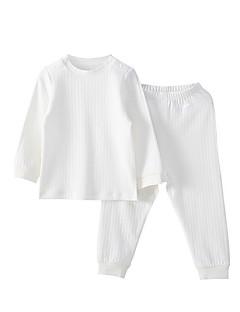 billige Sett med babyklær-Baby Unisex Ensfarvet Langærmet Tøjsæt