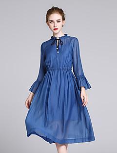 Χαμηλού Κόστους ZIYI-Γυναικεία Εξόδου Εκλεπτυσμένο Μετάξι Λεπτό Swing Φόρεμα - Μονόχρωμο Μίντι