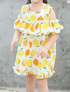 billige Pigekjoler-Børn Pige Citron Geometrisk / Frugt Kortærmet Kjole