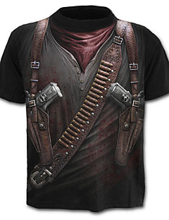Χαμηλού Κόστους Πώληση-Ανδρικά Μεγάλα Μεγέθη T-shirt Κομψό στυλ street / Στρατιωτικό / Εξωγκωμένος - Βαμβάκι 3D Στάμπα / Κοντομάνικο