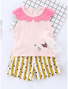 billige Sett med babyklær-Baby Pige Stribet / Geometrisk Uden ærmer Tøjsæt