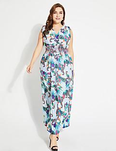 Χαμηλού Κόστους MORE BRANDS-Γυναικεία Βασικό Μπόχο Καφτάνι Φόρεμα - Φλοράλ Μακρύ