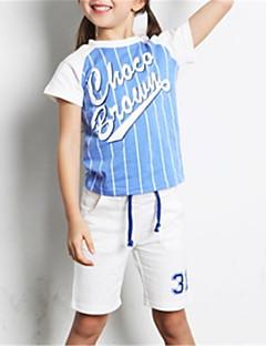 billige Tøjsæt til piger-Børn Unisex Farveblok Kortærmet Tøjsæt