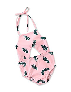 billige Badetøj til piger-Børn / Spædbarn / Baby Pige Tropisk blad Blomstret / Geometrisk / Trykt mønster Uden ærmer Badetøj
