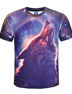 billige Herre Mode Beklædning-Herre - Farveblok Dyr overdrevet Gade T-shirt Ulv