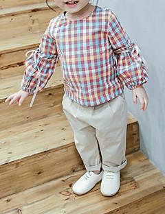 billige Babyoverdele-Baby Pige Ternet 3/4-ærmer Skjorte