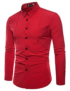 お買い得  メンズシャツ-男性用 シャツ ビジネス 誇張された ソリッド