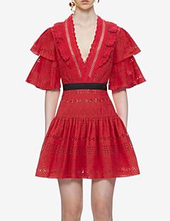 billige Kjoler-Dame I-byen-tøj A-linje Kjole - Ensfarvet, Blonder Drapering Trykt mønster Mini Dyb V Rød