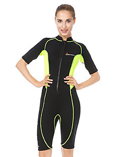 WELLPATH Women s Shorty Wetsuit 3mm Neoprene Diving Suit Thermal   Warm Ultraviolet  Resistant Half Sleeve Front Zip - Diving Surfing Snorkeling Patchwork ... a98c64788