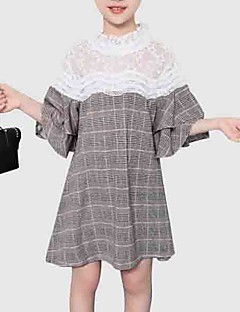 billige Pigekjoler-Børn Pige Ternet / Patchwork Halvlange ærmer Kjole