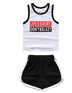 billige Tøjsæt til drenge-Børn Drenge Ensfarvet Trykt mønster Farveblok Uden ærmer Tøjsæt
