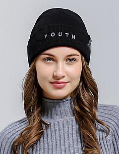 billige Trendy hatter-Dame Beanie Hatt Ensfarget Polyester / Tøy / Vinter