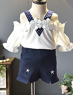 billige Tøjsæt til piger-Børn Pige Trykt mønster / Farveblok / Jacquard Vævning Uden ærmer Tøjsæt