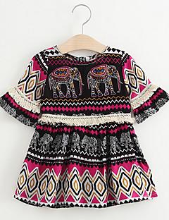 billige Babykjoler-Baby Pige Trykt mønster Kortærmet Kjole