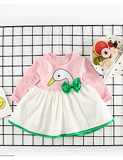 billige Babykjoler-Baby Pige Farveblok Langærmet Kjole