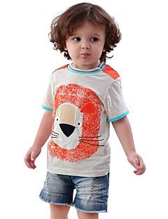 billige Pigetoppe-Børn / Baby Pige Løve / Sort og Grå Trykt mønster / Patchwork Kortærmet T-shirt