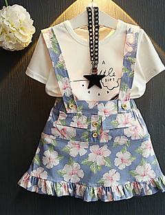 billige Tøjsæt til piger-Børn Pige Ensfarvet Blomstret Kortærmet Tøjsæt