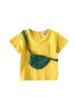 billige Babyoverdele-Baby Pige Ensfarvet / Farveblok Kortærmet T-shirt