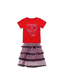 billige Tøjsæt til piger-Baby Pige Farveblok Kortærmet Tøjsæt