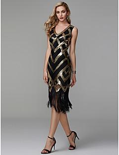 billige Kjoler til spesielle anledninger-Tube / kolonne V-hals Telang Polyester Glitrende Cocktailfest Kjole med Paljett av TS Couture®