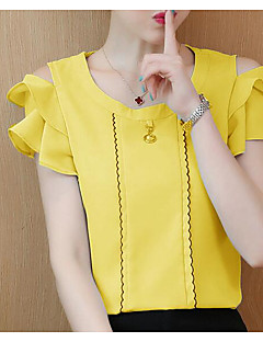 billige T-shirt-Dame - Ensfarvet Basale T-shirt
