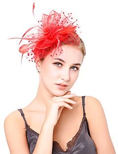 billige Hårpynt til damer-Dame Vintage / Elegant fascinator - Blomst / Netting, Ensfarget / Bryllup / Alle årstider