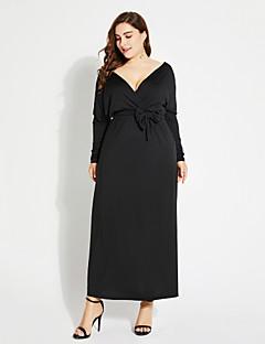 Χαμηλού Κόστους MORE BRANDS-Γυναικεία Μεγάλα Μεγέθη Βασικό Little Black / Swing Φόρεμα - Μονόχρωμο, Στάμπα Μακρύ Βαθύ V / Sexy