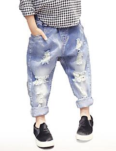 billige Bukser og leggings til piger-Børn Pige Drenge Ensfarvet Jeans