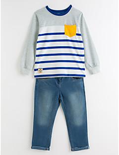 billige Tøjsæt til drenge-Drenge Tøjsæt Stribe, Bomuld Polyester Forår Efterår Langærmet Pænt tøj Stribet Blå