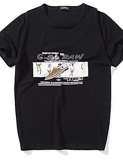 abordables Tallas Grandes-Hombre-Hombre Básico Estampado Camiseta, Escote Redondo Geométrico / Manga Corta
