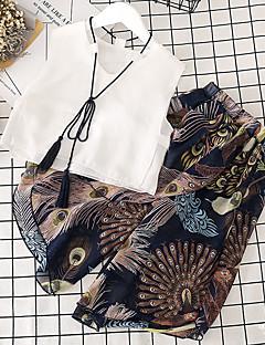 billige Tøjsæt til piger-Børn Pige Ensfarvet / Trykt mønster / Farveblok Uden ærmer Tøjsæt