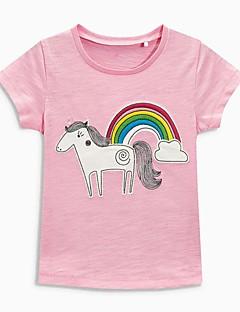 billige Pigetoppe-Børn / Baby Pige Sort og Grå / Sort og hvid / Sort & Rød Galakse Kortærmet T-shirt