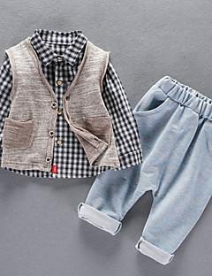 billige Tøjsæt til drenge-Baby Drenge Ternet Langærmet Tøjsæt