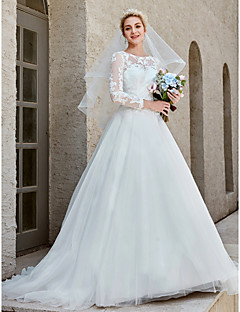 Ball Gown Bateau Neck Chapel Train Lace   Tulle Made-To-Measure Wedding  Dresses with Appliques   Crystal Brooch   Button by LAN TING BRIDE®    Illusion ... 22631954a329